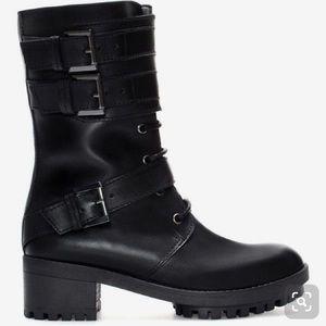 Zara Trafaluc-Black Leather Military Boots 38/7.5